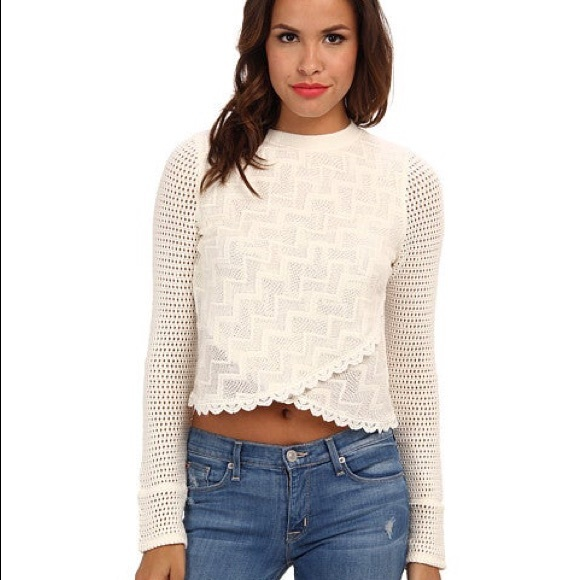 Free People Antoinette knit top/ sweater cream